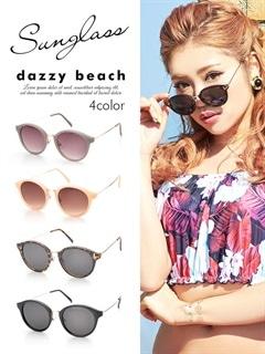 [4色]フチ有サングラス【dazzy beach】
