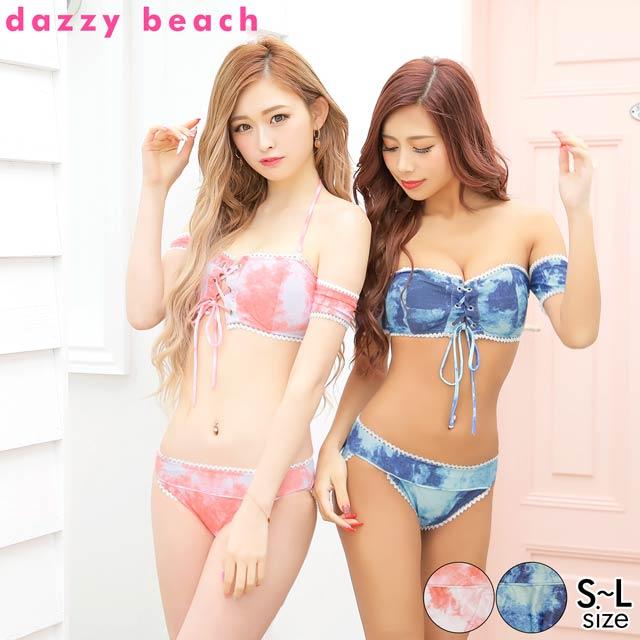 [2点SET]タイダイ柄レースアップバンドゥビキニ/水着【dazzy beach/2021ビキニ】
