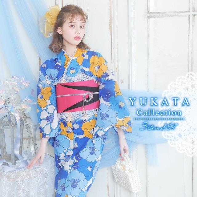LARMEモデル加藤ナナ着用[3点SET]青色ツバキ模様浴衣【2021年新作/YUKATA by dazzy】