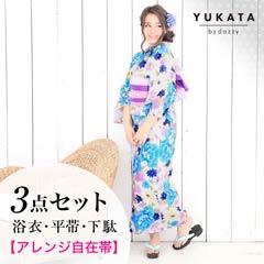 [3点SET]パステル牡丹柄浴衣【2020年新作/YUKATA by dazzy】