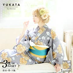 [3点SET]レトロ牡丹柄浴衣【2020年新作/YUKATA by dazzy】