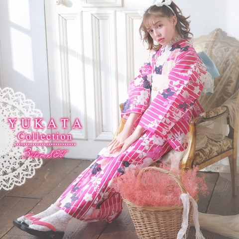 [3点SET]エレガント牡丹柄浴衣【2020年新作/YUKATA by dazzy】