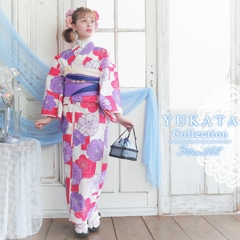 5/31新作![3点SET]桃色市松桜柄浴衣【2019年新作/YUKATA by dazzy】