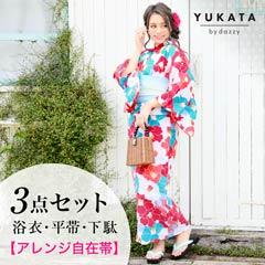 5/31新作![3点SET]万華鏡椿柄浴衣【2019年新作/YUKATA by dazzy】