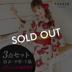 [3点SET]レトロ椿柄浴衣【2019年新作/YUKATA by dazzy】