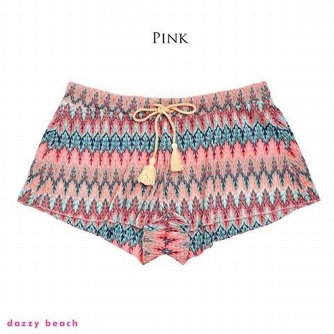 [単品]エスニック柄ショートパンツ/夏小物【dazzy beach/2021夏小物】(ピンク)