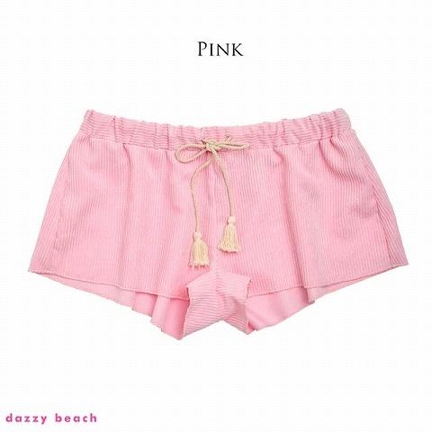 [単品]コーデュロイショートパンツ/夏小物【dazzy beach/2021夏小物】(ピンク)
