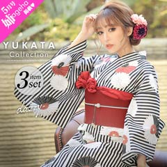 4/1UP[3点SET] 黒縞に紅白花模様浴衣 【2020年新作/YUKATA by dazzy】