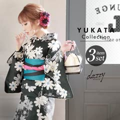 4/17UP[3点SET] 黒地に秋桜浴衣 【2020年新作/YUKATA by dazzy】