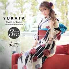 [3点SET] 矢羽根に万寿菊浴衣 【2020年新作/YUKATA by dazzy】