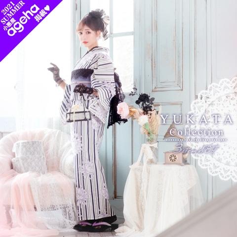 縞地に白群菊浴衣 【2020年新作/YUKATA by dazzy】