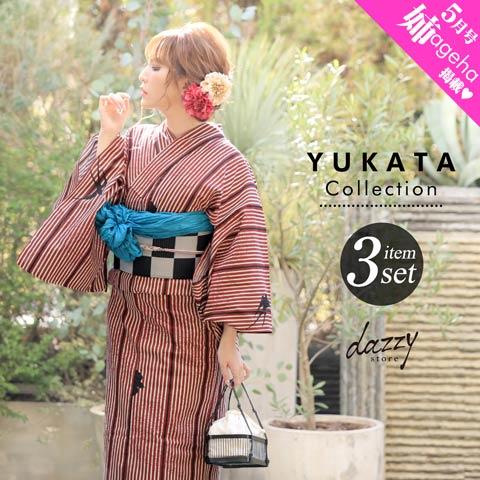 [3点SET] 縦縞に恋鳥燕浴衣 【2020年新作/YUKATA by dazzy】