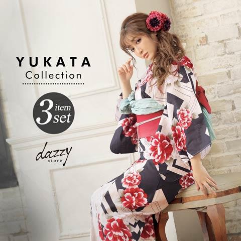 [3点SET] レトロモダン菊浴衣 【2020年新作/YUKATA by dazzy】
