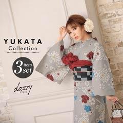 [3点SET] 灰色地にモダン菊浴衣 【2020年新作/YUKATA by dazzy】