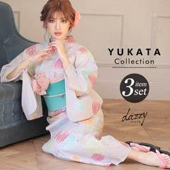 4/1UP[3点SET] 淡色に万寿菊金魚浴衣 【2020年新作/YUKATA by dazzy】