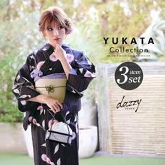 [3点SET] 黒地にあざみ浴衣 【2020年新作/YUKATA by dazzy】