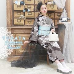 [3点SET] 墨染に桜柄浴衣 【2020年新作/YUKATA by dazzy】