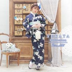 [3点SET] 紺地に木蓮浴衣 【2020年新作/YUKATA by dazzy】