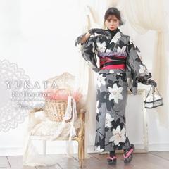 4/1UP[3点SET] 白百合と影縞浴衣 【2020年新作/YUKATA by dazzy】