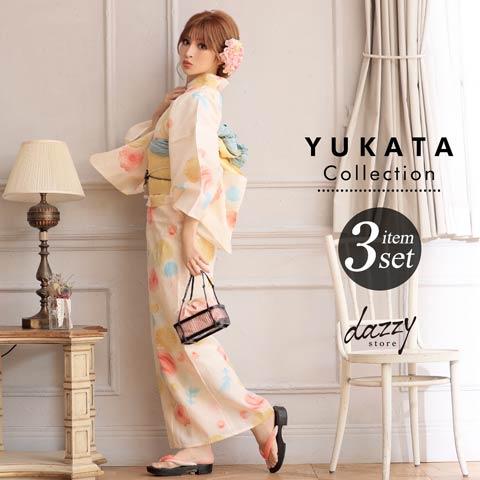 [3点SET] 水風船と金魚浴衣 【2020年新作/YUKATA by dazzy】