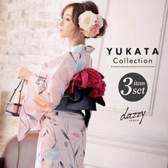 [3点SET] 淡色に雛芥子浴衣 【2020年新作/YUKATA by dazzy】