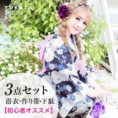 5/31新作![3点SET]夜桜柄浴衣【2019年新作/YUKATA by dazzy】