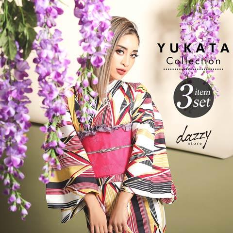 [3点SET] 桃色変り矢絣柄浴衣 【2020年新作/YUKATA by dazzy】