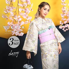 7/6UP[3点SET] 淡色レトロひまわり柄浴衣 【2020年新作/YUKATA by dazzy】