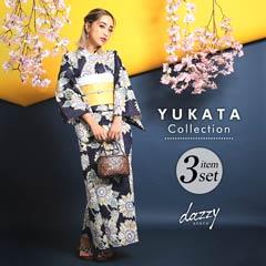 7/6UP[3点SET] 紺色レトロひまわり柄浴衣 【2020年新作/YUKATA by dazzy】