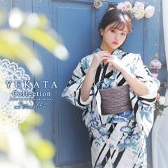 [2点SET] アサガオ柄モダンストライプ浴衣 【2021年新作/YUKATA by dazzy】