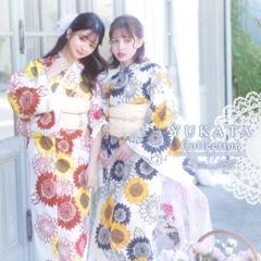 [2点SET] レトロシックひまわり柄浴衣 【2021年新作/YUKATA by dazzy】