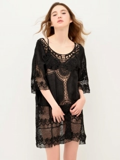 Lace knit onepiece