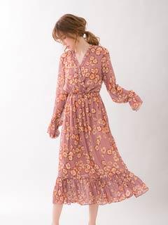 [CARRIEFRANCA]メロウフラワーシフォンルームドレス