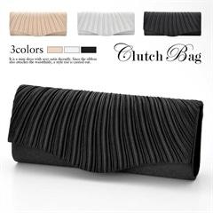 [全3色][2way]ショルダーチェーン付きシンプルサテンプリーツクラッチバッグ