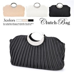 [全3色][2way]サテンプリーツハンドバッグ