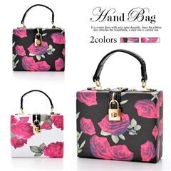 [全2色][2way]錠前チャーム付きroseflowerスクエアミニハンドバッグ