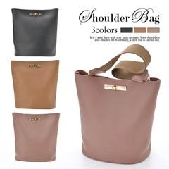 [全3色][2way]ポーチ付き合皮ワンカラーバケットバッグ