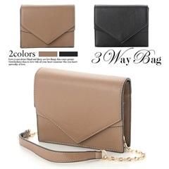 [全2色][2way]レター型ワンカラーウエストバッグ