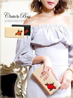 [全2色][2way]ローズ刺繍柄フェイクレザークラッチバッグ