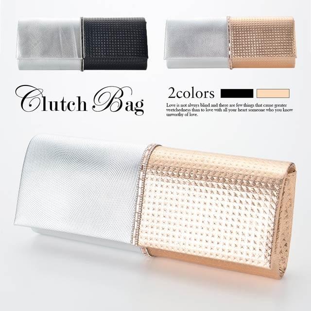 [全2色][2way]ビジューラインメタリッククラッチバッグ