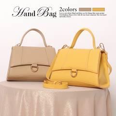 [全2色][2way]ワンカラー台形ミニハンドバッグ