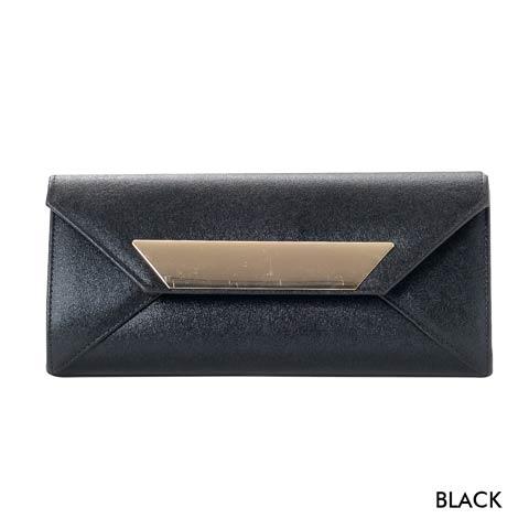 [全2色][2way]ワンカラーラメシャイニーレタークラッチバッグ(ブラック-フリーサイズ)