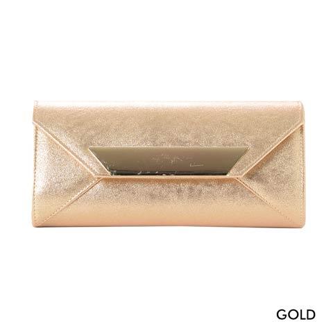 [全2色][2way]ワンカラーラメシャイニーレタークラッチバッグ(ゴールド-フリーサイズ)