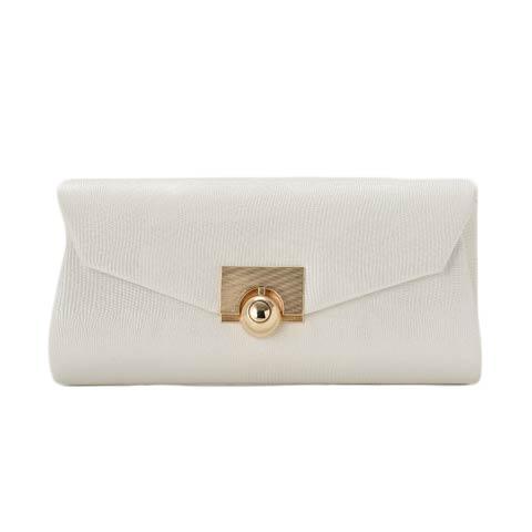 [全4色][2way]ゴールドバックル付ワンカラークラッチバッグ(ホワイト-フリー)