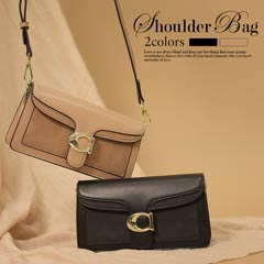 [全2色][2way]ベルト付きシンプルワンカラーミニショルダーバッグ