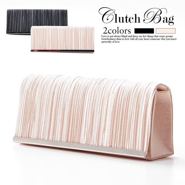 [全2色][2way]ワンカラーサテンプリーツクラッチバッグ