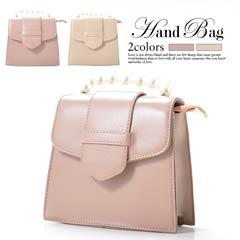 [全2色][2way]パールシンプルハンドバッグ