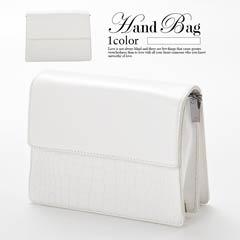 クロコダイル柄ワンカラーハンドバッグ
