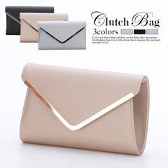 [全3色][2way]シンプルデザインレタークラッチバッグ