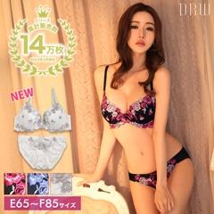 5/11再販!【EFサイズ】Rose刺繍ブラジャー&フルバックショーツ